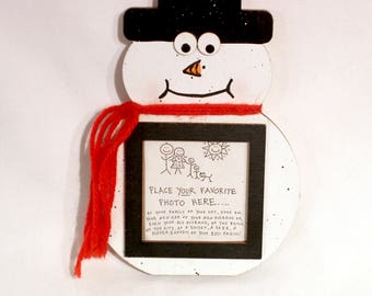 Snowman Picture Frame - Hand Painted Wooden Frame