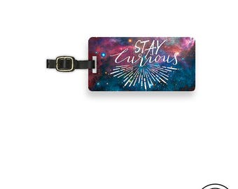 Luggage Tag Stay Curious Space Explorer Travel Luggage Tag  With Printed Custom Info On Back, Single Tag
