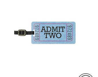 Luggage Tag Admit TWO Ticket Luggage Tag  With Printed Custom Info On Back Single Tag