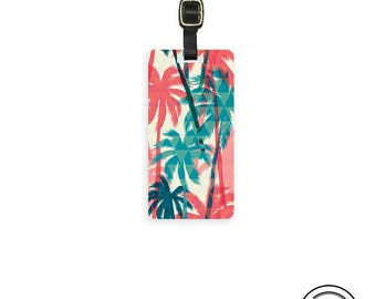Luggage Tag Palm Tree Luggage Tag Printed Personalized Custom Metal Single Tag