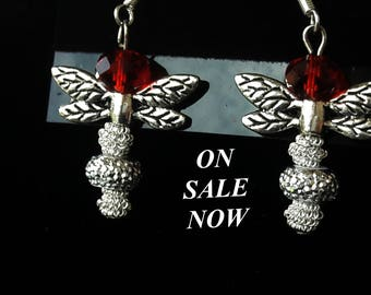 Your Choice, Silver and Red, Green, Clear or Blue Dragonfly Earrings