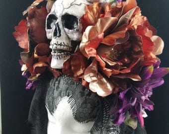 OOAK! La Muerte de Otono Headdress with Trailing Black Lace for Day of the Dead/Dia de los Muertos/Costume/Wedding