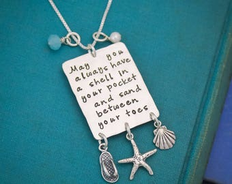 May You Always Have A Shell in Your Pocket Hand Stamped Sterling Silver Necklace Beach Jewelry