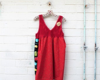 Red Folk Dress/Upcyled Clothing/Eco Dress/Upcycled Dress/Upcycled fairy Dress/Farmhouse Chic/Anthropologie style/cottage chic/rustic farm