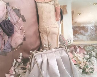 vintage 90s small silver bag, rhinestone handbag, raindrop rhinestones, pretty pink lining, silver evening bag