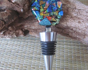 Fused Dichroic Glass Bottle Wine Stopper