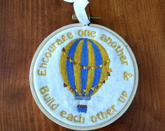 Encourage One Another Embroidered Wall Hanging Home Decor Handmade Gift