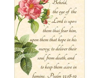 GOD WATCHES Over YOU Psalm 33:18-19 Christian Home Decor Vintage Verses Calligraphy Wall Art Parchment 5x7 Inspirational Wall Art Pink Rose
