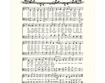 I LOVE To Tell The STORY - Hymn Wall Art - Christian Home & Office Decor - Vintage Verses Sheet Music Wall Art - Inspirational Wall Art Sale