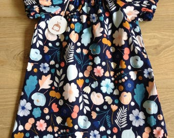 Simple Cotton Dress - girls age 2-3 - blue floral