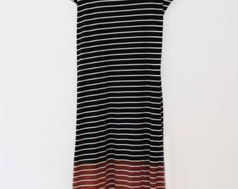 Black & white striped maxi dress, hand dyed t shirt dress, maxi dress