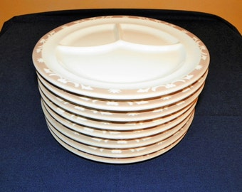 Syracuse China Restaurant 9 5/8 Inch Divided Plates, Nutmeg Pattern, SET of 4 Plates (8 Plates Available)