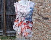Altered Women's USA Tank Top, Red, White and Blue Tee,  BoHo Tank, Large, Shabby Chic, Bohemian Asymmetrical Hem,Sequence Tee, Funky Tee Top
