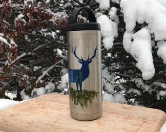 Hand-Painted Buck 18oz. Stainless Steel Water Bottle