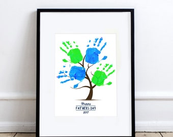 father's day gift kids handprint tree - printable file - diy decoration memory keepsake instant download, grandpa grandfather, craft project