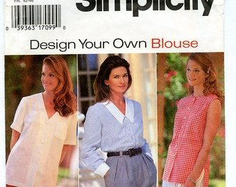 Vintage Simplicity 9746 Women's Button Front Top with Nine Variations UNCUT Sewing Pattern Sizes 14 16 18 Bust 36 38 40 Design Your Blouse