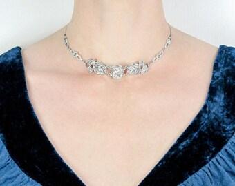 Vintage Deco Silver Rose Necklace | Sterling Silver Marcasite Vintage Choker Necklace | Vintage Sterling Silver Choker