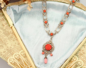 Antique 1920s Necklace | Vintage Rose Filigree Deco necklace | Art Deco filigree necklace