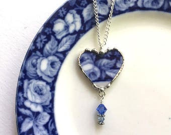 Antique English Flow Blue roses broken china jewelry, broken china jewelry heart pendant necklace, recycled china heart pendant, crystals