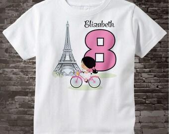 Eighth Paris Birthday Shirt | Pink 8 Birthday Shirt | Personalized Girls Birthday Shirt Pink Age and Name Tee for kids | 02202017c