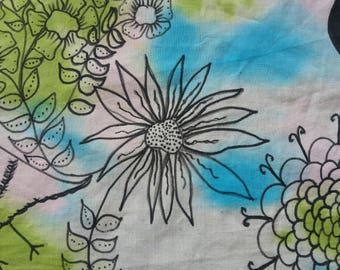 Hand dyed 100% Cotton fabric panel Hand painted over Vibrant Sky Blue Aqua and Green Bird Leaves Flowers Measures 10x26 inches