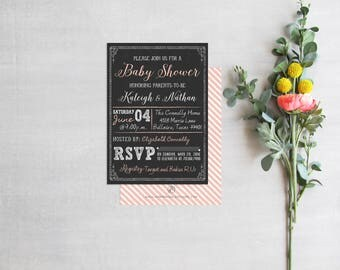 Rustic Girl Baby Shower Invitation, Pink Couples Shower Invite, Chalkboard Poster Baby Shower for Twins Invites