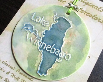 LAKE WINNEBAGO ORNAMENT ceramic-watercolor handmade & hand glazed original