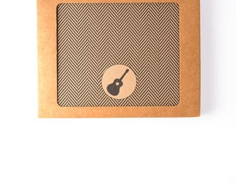 Men's Gift of Boxed Notes - Herringbone Pattern Set of 8 with icons of dogs, tools, beard, ties, guitar, headphones
