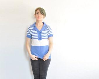 retro blue striped sweater blouse . nautical 1960 style preppy knit top .medium .sale s a l e