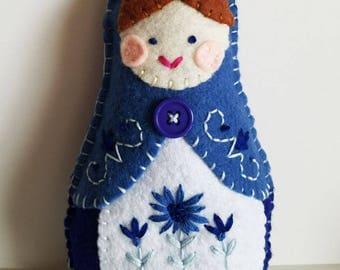 Handmade Felt Matryoshka Doll - Embroidered Cornflower Blue Royal Blue - Brown Hair - Blue Eyes - Heirloom Style - Russian Baby Doll - OOAK