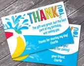 Pool Party Thank You Card - Thank You, Birthday Party, Summer | DIY Editable Text Instant Download PDF Printable