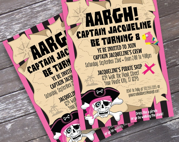 Pirate Girl Invitation - Girl Pirate Birthday Party, Pink Pirate Invite, Invitation with Editable Text | DIY INSTANT Download PDF Printable