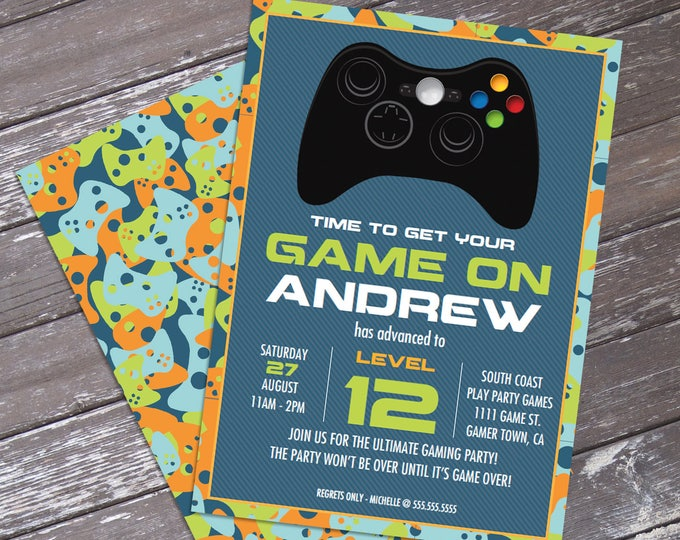 Video Game Birthday Party Invitation - Blue Camo - You Personalize EDITABLE Text At Home - INSTANT Download D.I.Y. Printable PDF Kit