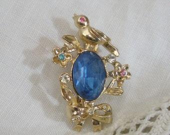 Vintage Coro Bird Brooch with Blue Glass Stone & Rhinestones