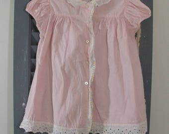 Vintage Pink Baby Dress with Eyelet - Tiny-Mites Frocks