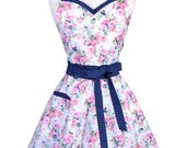 Sweetheart Retro Apron - Womens Vintage Pink Blue Floral Cute Flirty Pinup Kitchen Apron with Personalized Monogram Option (DP)