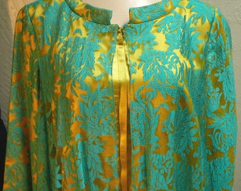 Vintage Keyloun Maxi Dress Caftan Teal Chiffon Lace over Gold Unusual Hostess Dress