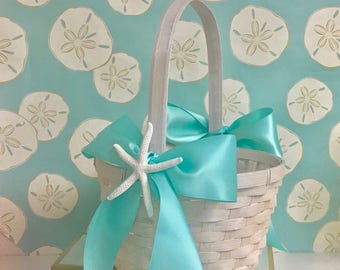 Beach Wedding Flower Girl Basket with Natural Starfish and Ribbons - 7 Ribbon Choices - coastal wedding tropical wedding