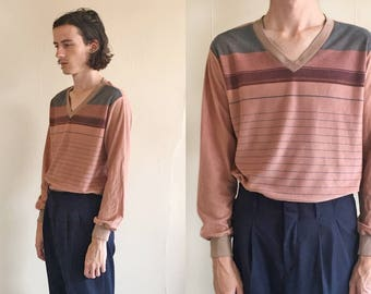 70's Striped Long Sleeve V Neck