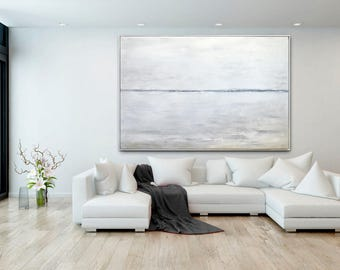 Minimalist White Painting LARGE Abstract Art Contemporary Modern Art Gray Taupe Black and White Landscape Huge Oil Painting by Sky Whitman