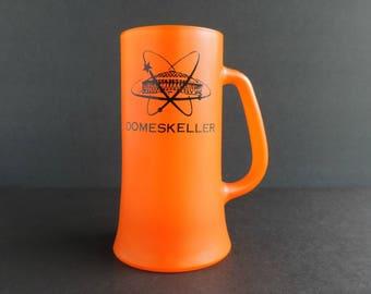 Vintage Houston Astrodome Domeskeller Stein, Mid-Century Orange Frosted Glass Mug, Man Cave Baseball Barware