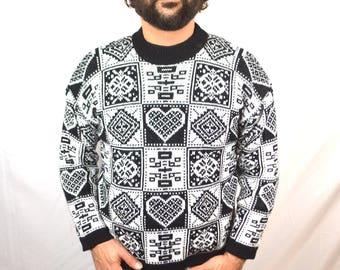 Vintage 80s 1980s Black White Heart Geometric Sweater