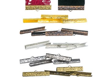 35mm or 1 3/8 inch Ribbon Clamps Ends Crimps with loop - 20 pieces in Mixed Finishes - Artisan Series