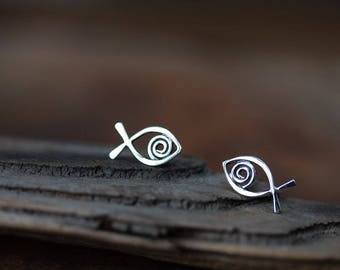 Simple Fish Stud Earrings, Sterling Silver Wire Outline with Spiral, Handmade Silver Studs, Aquarium Series