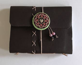 Brown Cross Stitch - Large Leather Journal