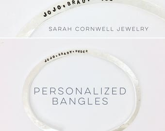Custom Stamped Bangle, Hand Stamped Bangle, Hand Stamped Bangle, Personalized Custom Cuff, Custom Bangle, Silver Cuff, Custom Silver Cuff