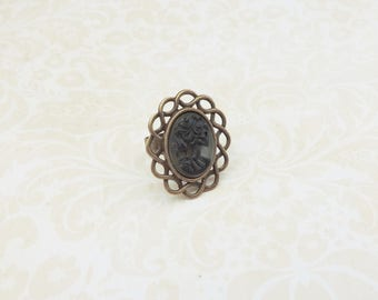 Black Lady skull adjustable cameo ring , with mini resin cabochon lace bronze base , gothic style