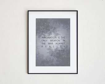 IMAGINATION is the ONLY WEAPON | instant download, lewis carroll quote, modern wall art, inspiration print, alice in wonderland decor