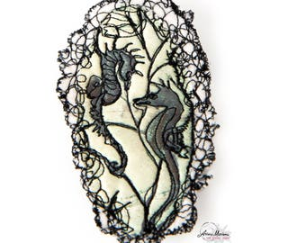 Collectible Textile Art Pin - Black and White Seahorses Art Brooche - Arty Closing System