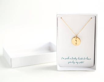Initial Necklace - Will You Be My Bridesmaid Gift - Bridesmaid Gift Ideas - Simple Initial Necklace - Be My Bridesmaid-Gold Initial Necklace